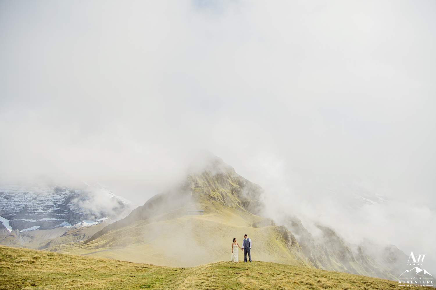 Couple looking at each other during Jungfrau mountain wedding