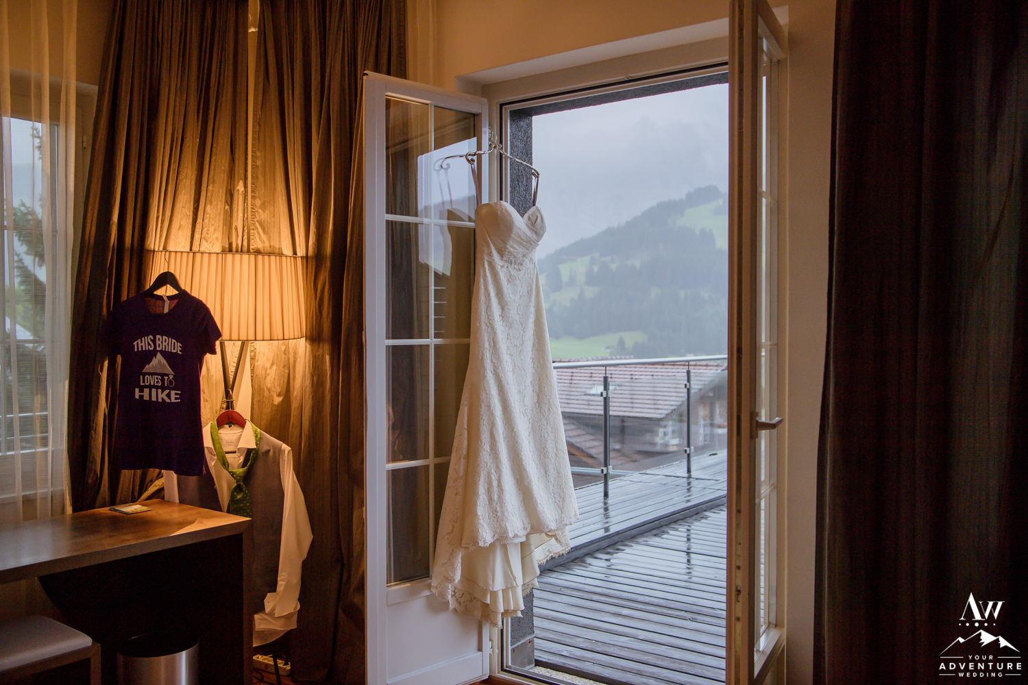 Switzerland Wedding Dress hanging at the Cambrian Hotel