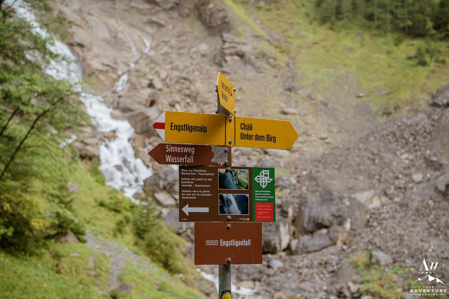 Engstligenalp Waterfall Wedding Sign in Switzerland