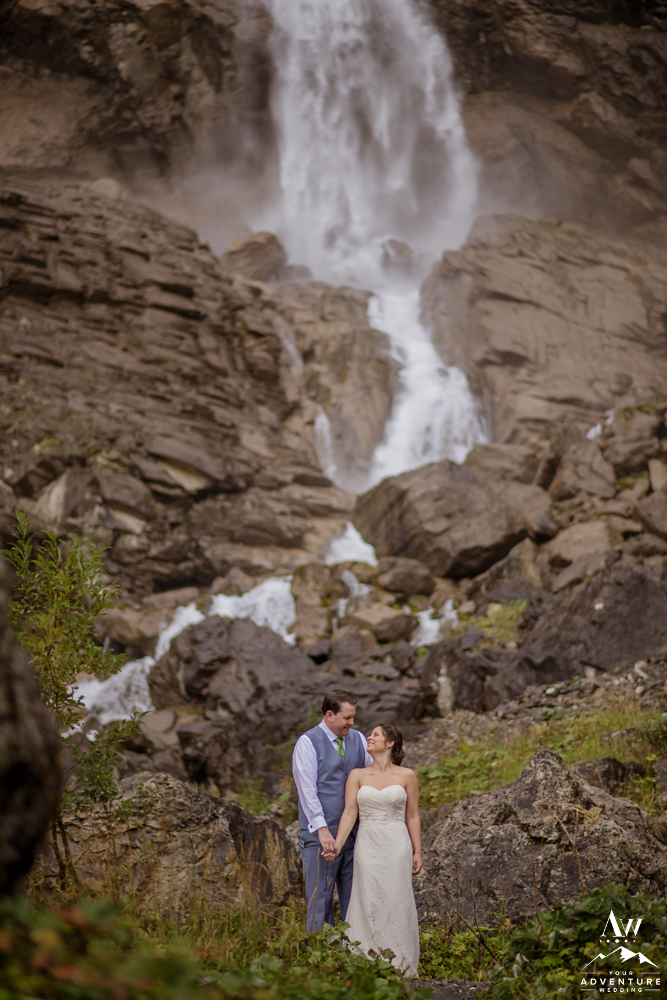 Romantic Switzerland Wedding Photos at Engstligenalp Waterfall