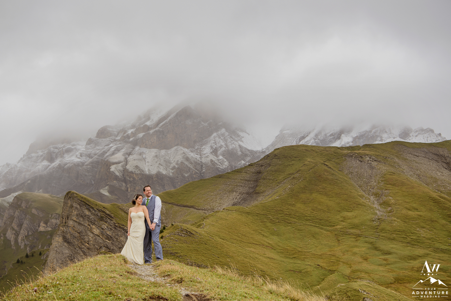 Switzerland Wedding Couple on Engstligenalp Mountain