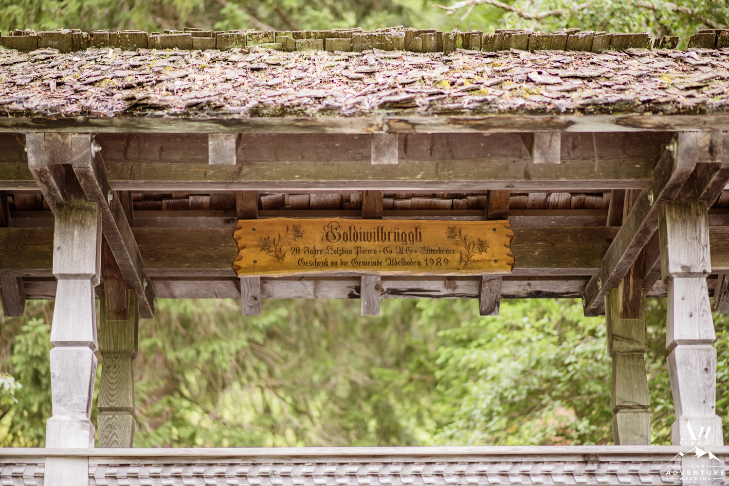 Adelboden Switzerland Covered Bridge Sign