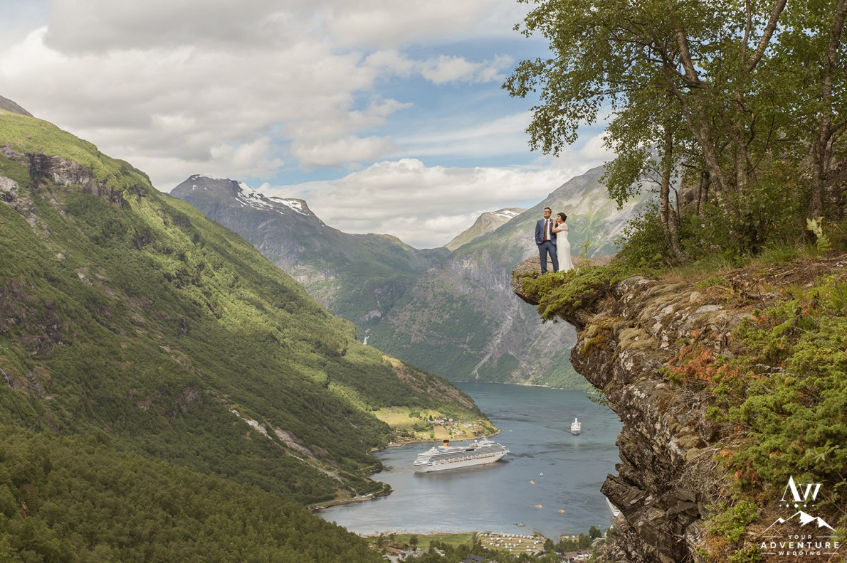 Norway Wedding Couple Standing on a cliff