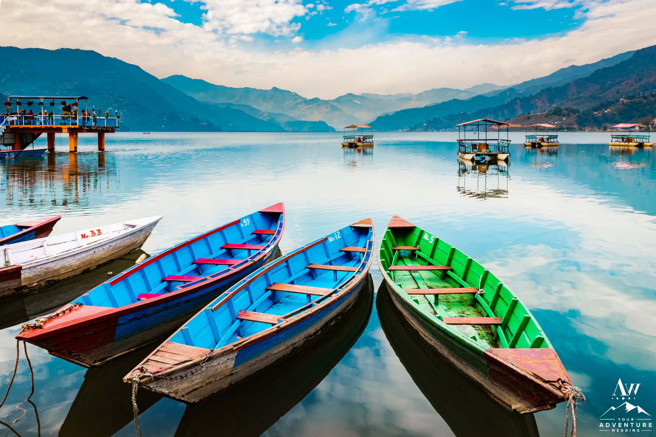 Nepal Elopement Location Boats on a Lake