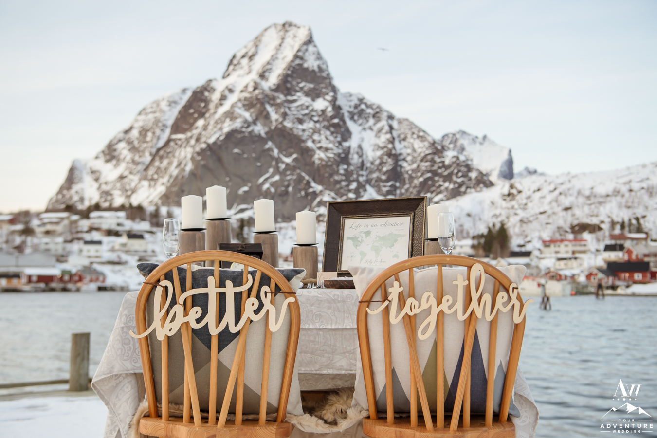 Better Together Wedding Chair sign for Reine Norway Elopement
