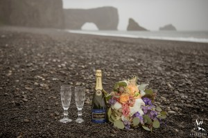 Champagne Toast on black sand beach in Iceland