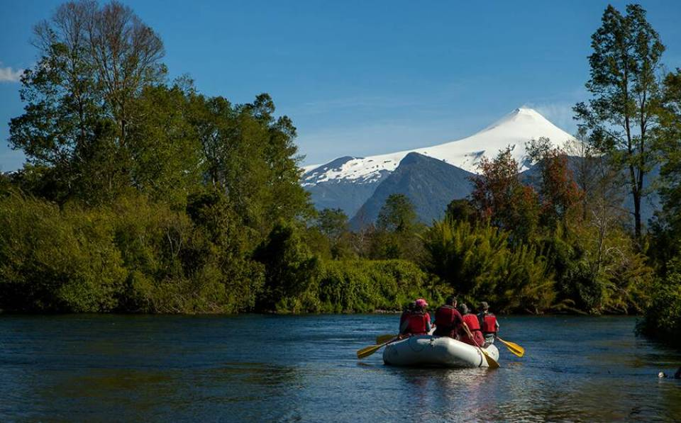 People rafting on the river in Chile