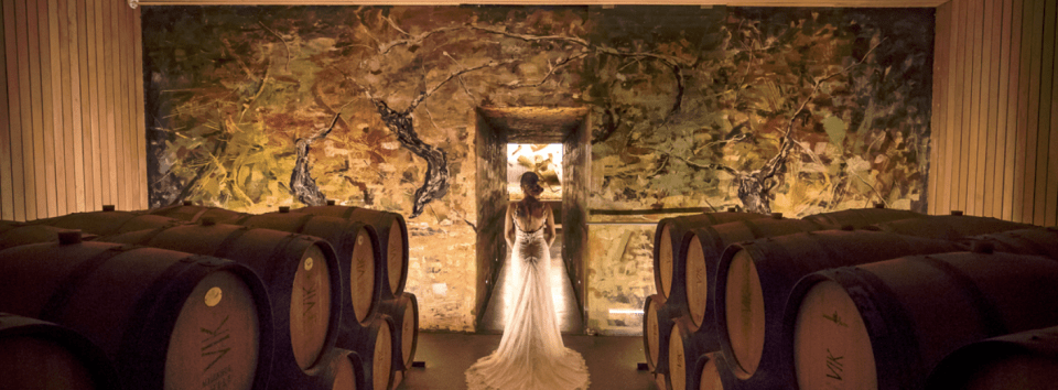 Bride by Vik Chile wine barrels