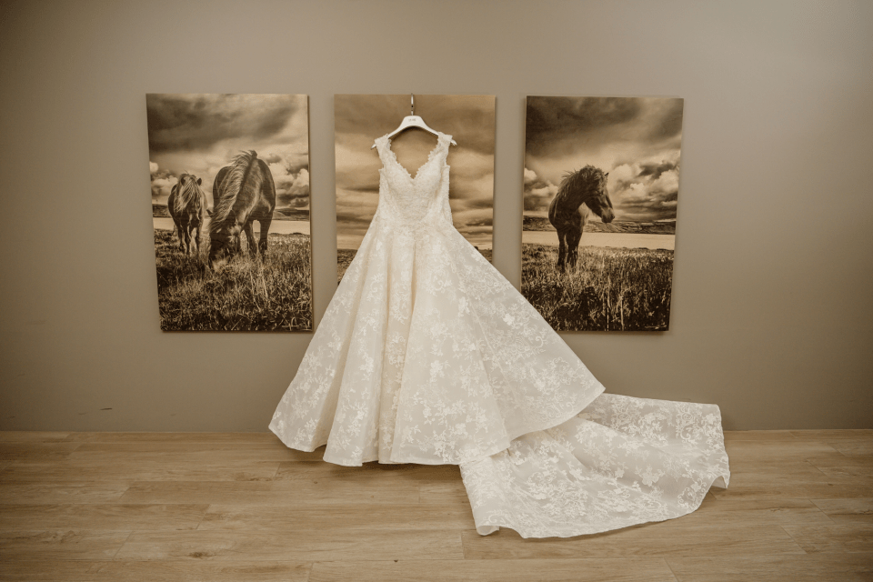 White floral lace ball gown elopement gown