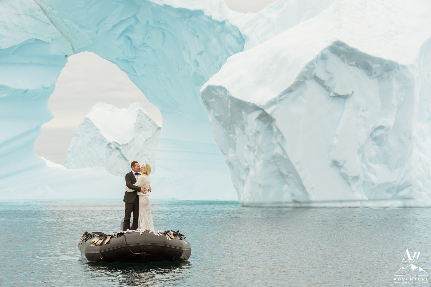 Antarctica Wedding Expedition Couple with icebergs