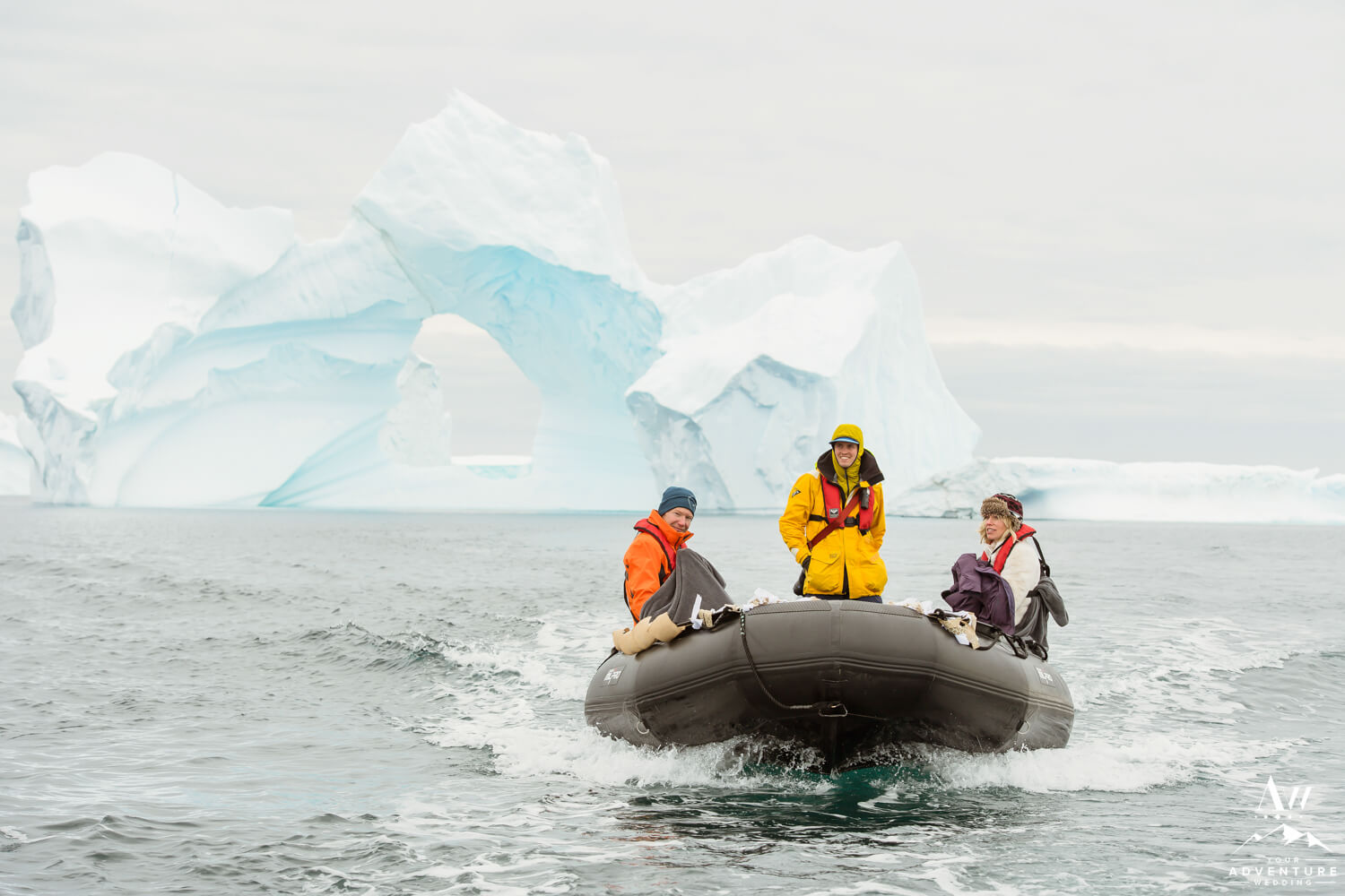 Antarctica Elopement Expedition Photo with Icebergs