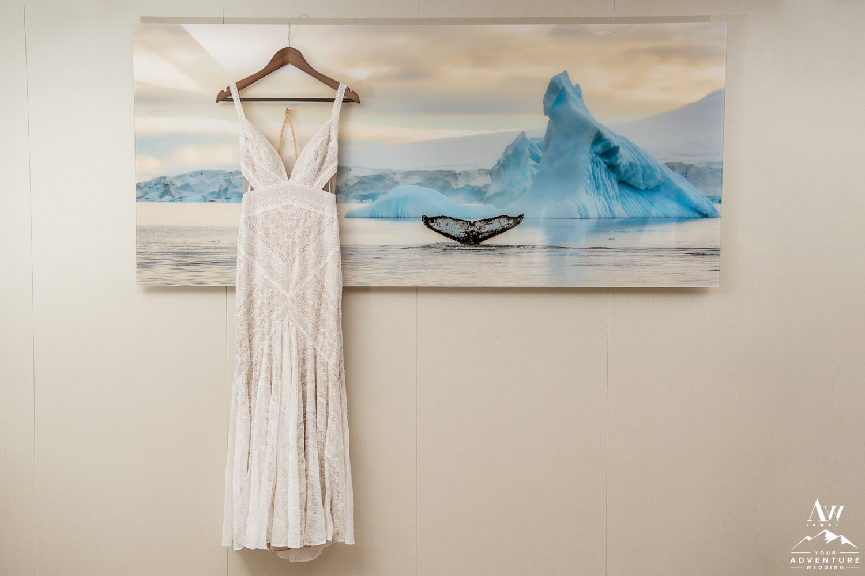 Antarctica Wedding Dress Hanging