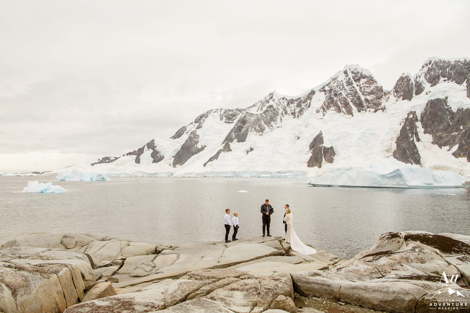 Antarctica Wedding Expedition with icebergs floating
