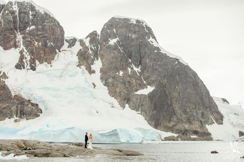 Antarctica wedding couple in the BAT