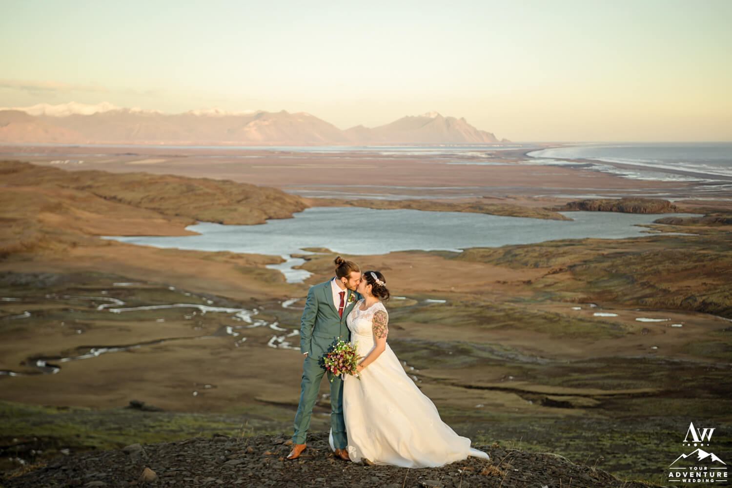 Sunset Elopement Photos on a mountain in Iceland
