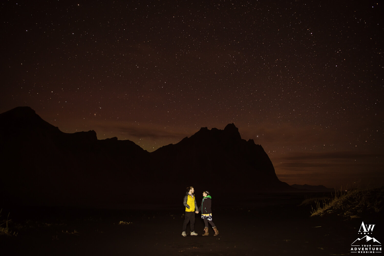 Nighttime Wedding Photos at Vestrahorn Mountain