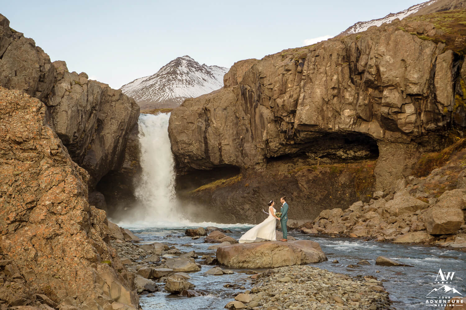 Adventurous Iceland Hiking Elopement Couple at Waterfall