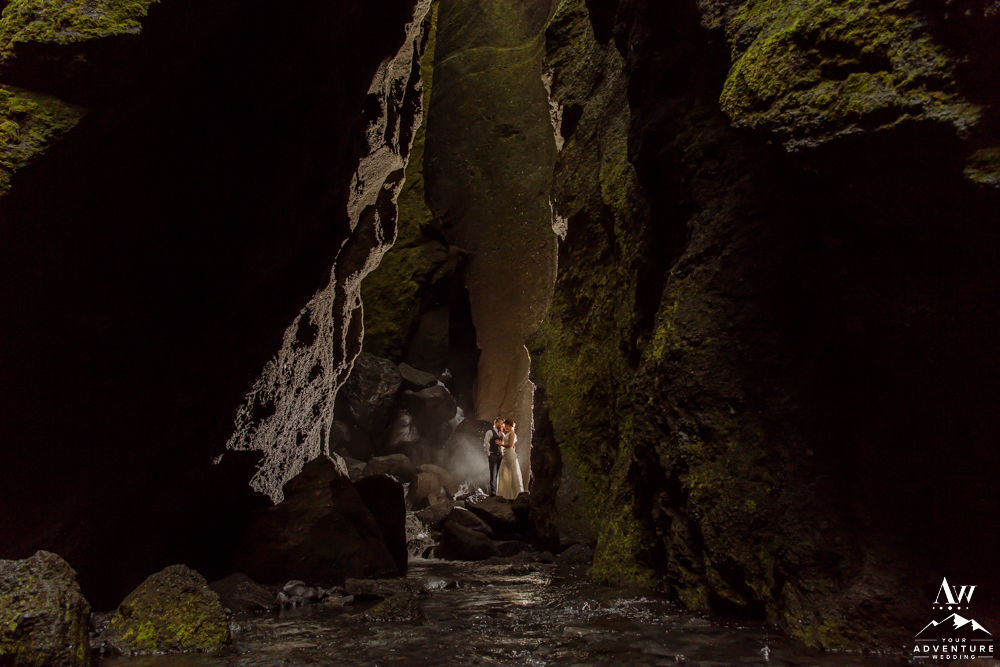 Adventure Elopement Couple in a Canyon