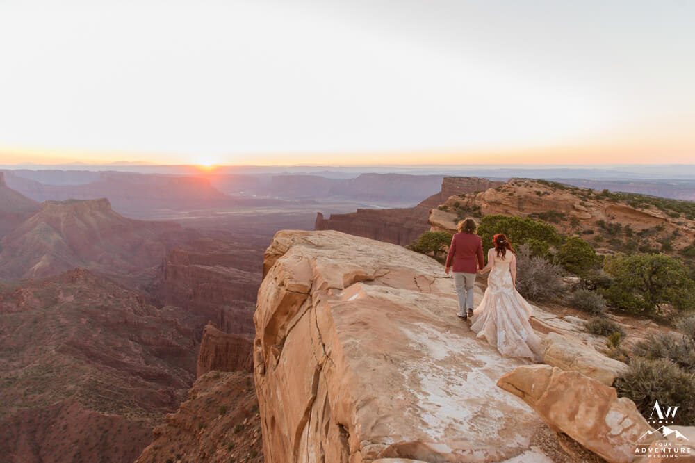 Moab Utah Elopement Couple on top of the world