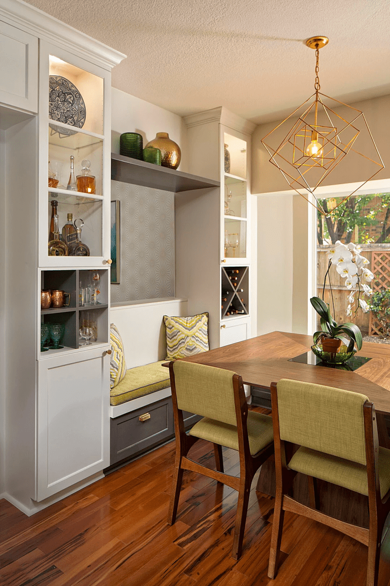 Transitional kitchen design and remodel with bench