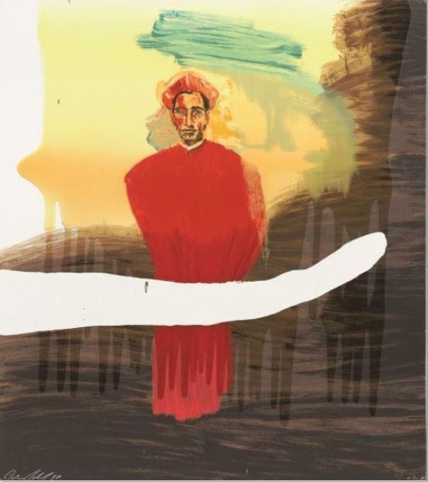 """Julian Schnabel: """"Victor Hugo"""", 1998, Original-Lithographie, signiert, lim. Auflage 90 Exemplare, Format:114 x 103 cm"""