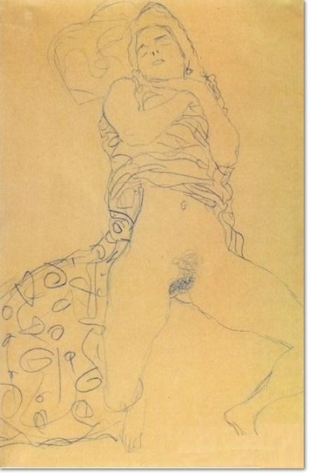 Gustav Klimt Halbakt mit geöffneten Beinen