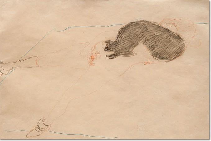 Gustav Klimt NACH RECHTS LIEGENDER AKT MIT PELZ, 1910, Bleistift, blauer und roter Farbstift auf Papier, 370 x 560 mm