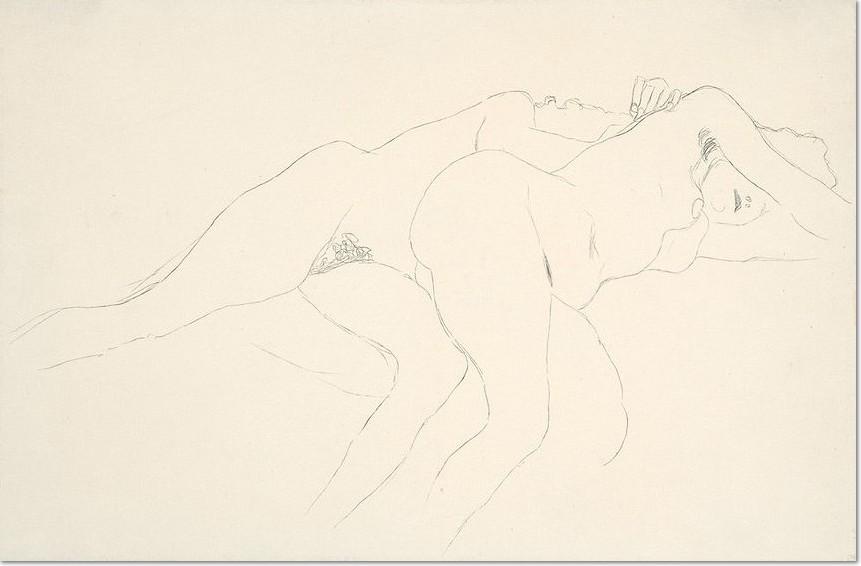 Gustav Klimt Zwei Liegende Akte nach rechts, Studie für das Gemälde ,Wasserschlangen II', 2. Zustand 1907 Bleistift auf Papier