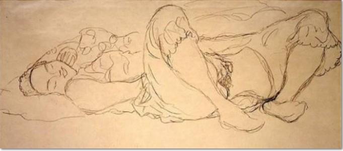 Gustav Klimt, Liegende Frau, masturbierend, 1917