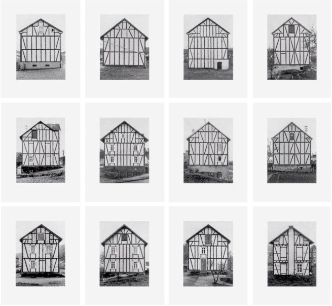 Bernd und Hilla Becher: 'Fachwerkhäuser' 1993, Siegener Industriegebiet, Portfolio mit 12 Duotone Offsetdrucken, Format je: 63 x 50 cm, (24¾ x 19¾ in.), jedes Exemplar signiert, nummeriert, lim, Auflage 50 Exemplare