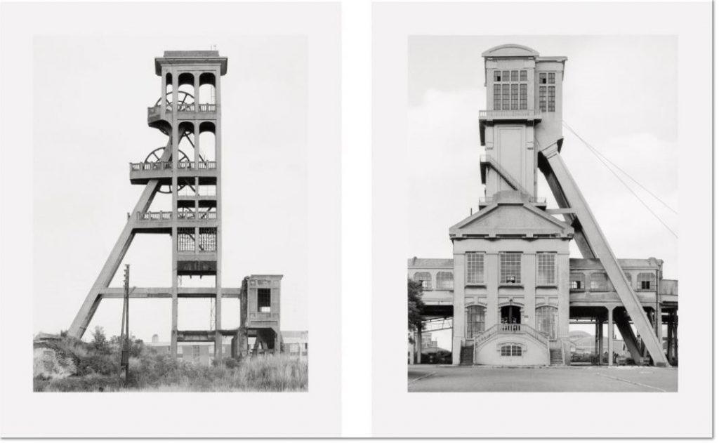 """Bernd und Hilla Becher:""""Zwei Fördertürme,Fosee Grenay No.1 Billy-Les-Mines, Nord-et-Pas de Calais, France"""", 1967"""