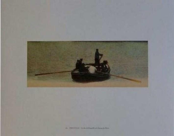 Elger Esser - Kleine Seestücke - Mappe mit 6 Original-Farboffsetdrucken auf Zanders medley pure creme Papier (250 g/qm). Jedes Blatt verso mit Bleistift handsigniert. Blattformat: jeweils 40 x 50 cm, Bildformat: 17 x 27,2 cm.. Die Umschlagmappe enthält Blätter mit folgenden Titeln: Le Tréport, Brest, Bouille, Trouville (s. oben), Royan, Le Havre.