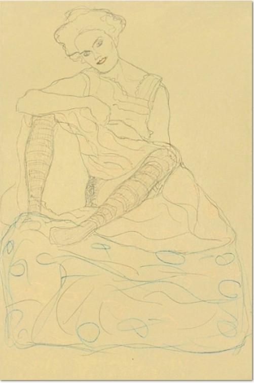 Gustav Klimt, Halbakt mit gegraetschten Beinen sitzender Halbakt 1910