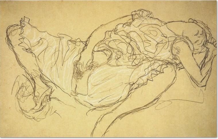 Gustav Klimt, 1916-17, Liegende Frau in Dessous, Graphit und weiss auf Papier, Leopold Museum, Wien