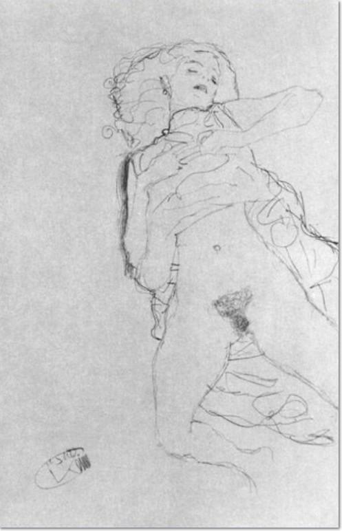 """Gustav Klimt: """"Auf dem Rücken mit hochgezogenem Hemd Liegende"""", 1912, Bleistift auf Papier"""