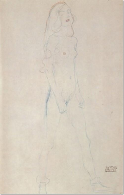 Gustav Klimt, Schreitender Mädchenakt, 1912, Buntstifte auf Papier