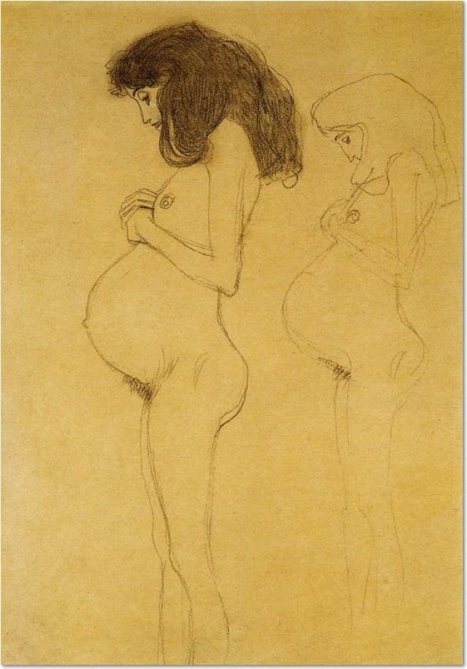 Gustav Klimt, ca. 1902, Stehende Schwangere im Profil, mit Wiederholung der Figur Studie für Die Hoffnung , Schwarze Kreide