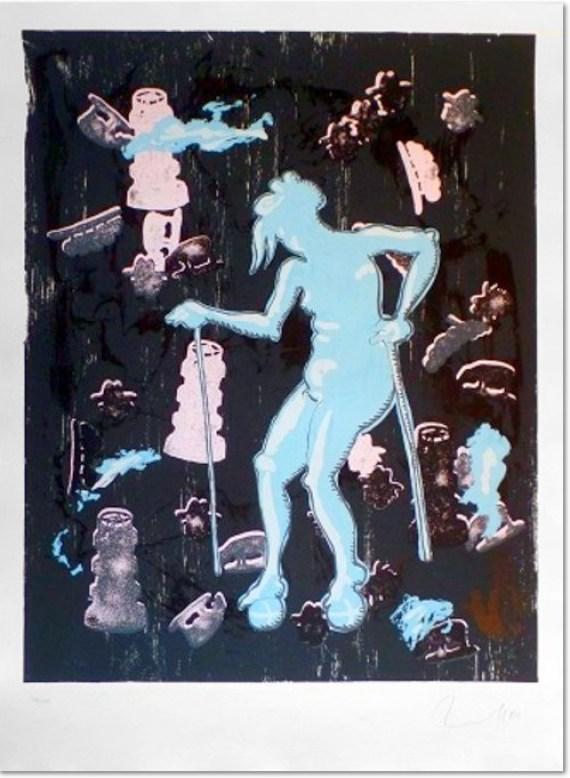 Jörg Immendorff - Ohne Titel Dialog / Gertrude [3002] 2001 Farbserigraphie Auflage 100, sign. und num. 91 x 71 cm auf 107 x 78 cm