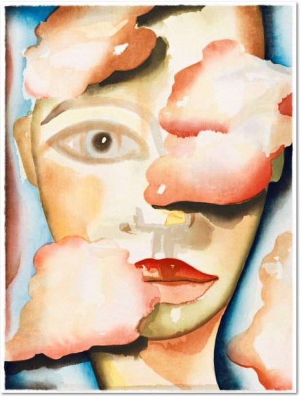 Francesco Clemente: 'Air' 2007, 27-farbiger Holzschnitt, per Hand gedruckt in der Ukiyo-e Tradition mit 21 Holzblöcken, lim. Auflage 51 Exemplare, handsigniert, nummeriert, Format: 61 x 46 cm.