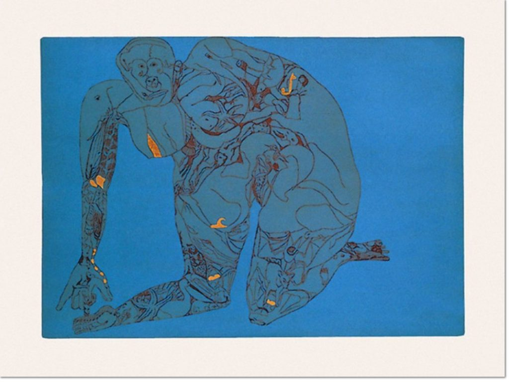 Francesco Clemente Riconciliazione 1986 Etching and aquatint, with gold leaf application, on rag paper, 60 x 80 cm (23½ x 31½ in.), edition of 90 + XXX, signed and numbered.