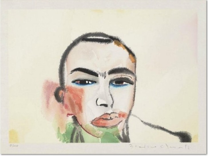 Francesco Clemente- Untititled - Selfportrait, 1984 Color woodcut 14.00 x 20.00 in 35.6 x 50.8 cm Edition of 200 This work is signed and numbered