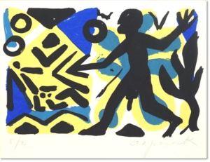 A. R. Penck - Zivilisation, 2000, Farblithografie auf Bütten, signiert, nummeriert, lim. Auflage 40 Exemplare, Blattformat: 50 x 70 cm, gerahmt