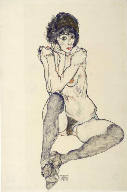 Egon Schiele, Sitzender weiblicher Akt mit aufgestützten Ellbogen, 1914, Bleistift, Deckfarben, auf Japanpapier (Albertina, Wien)