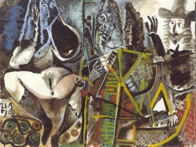 21-Septembre 1972 gouache encre lavis gris 60 x 80 cm Picasso-Sammlung der Stadt Luzern