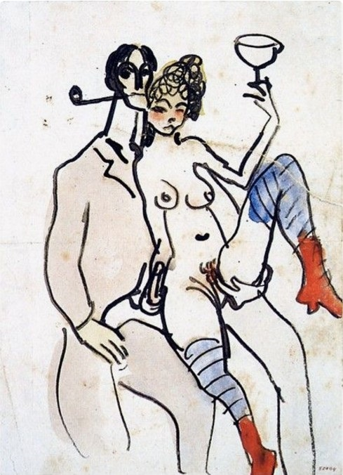 "Pablo Picasso: ""Angel Fernández de Soto avec une femme"", Barcelona, [January~Late-October]/1902 [~1903].Pen, sepia ink & watercolor on white paper.21 x 15,2 cm. Museu Picasso, Barcelona."