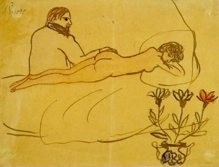 """Pablo Picasso:""""Nu couche avec Picasso assis a ses pieds,"""" 1902-1903."""