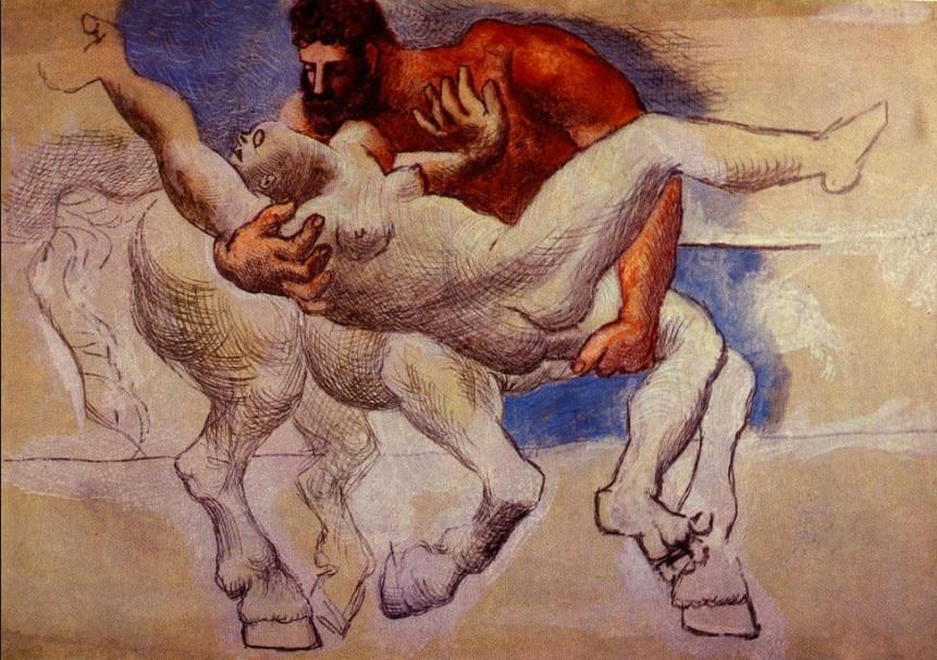 Pablo Picasso: 'Nessus et Déjanire (Le centaure Nessus enlève le femme d'Héraclès ; – cf. Ovide, Mét. IX, 101–103)', 1920, Juan-le-Pins, Crayon d'argen sur papier, Chicago, Art Institute.