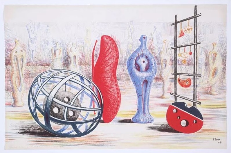 "Henry Moore: ""Sculptural Objects"", 1949, Original-Lithografie, signiert in der Platte, lim. Auflage 3000 Exemplare, Format: 49.5 x 76 cm, Publisher: School Prints, Printer: W.S. Cowell."