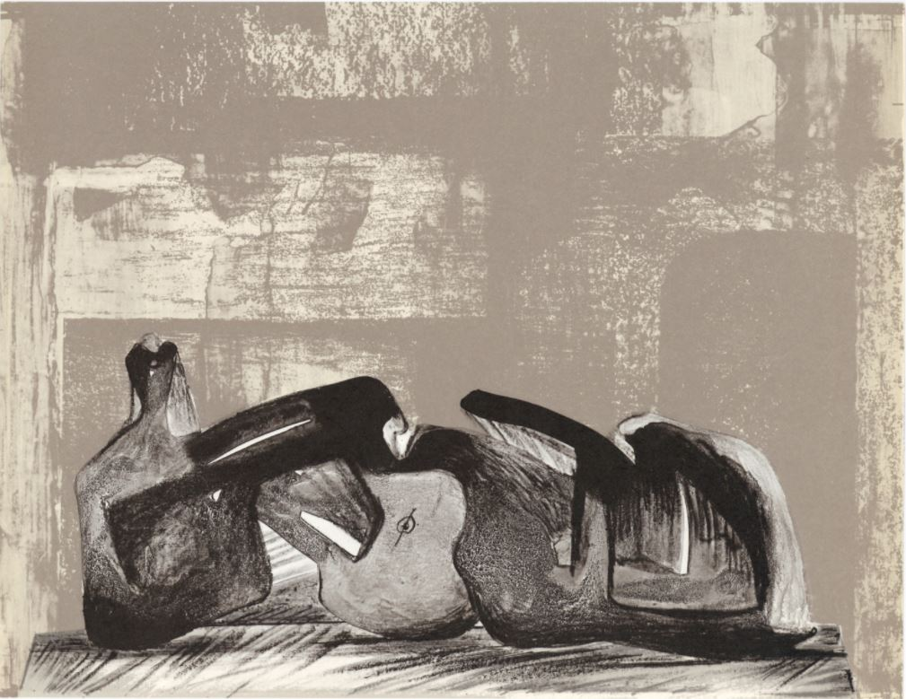 Henry Moore - Original lithograph, issued in 1977 for XXe Siecle, published in Paris by San Lazzaro. Sheet size 9 1/4 x 12 1/4 inches; 240 x 310 mm