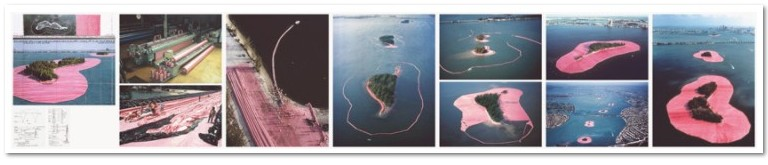 Christo and Jeanne-Claude- Surrounded Islands, 1980 - 83, 2009, 7-part leporello, digital pigment print (Ditone) on 260 g Hahnemühle Baryta paper, 32 x 175 cm, (12½ x 69 in). Edition: 75, signed and numbered.
